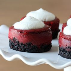 Mini red velvet cheesecakes, a perfect dessert for Valentine's Day.