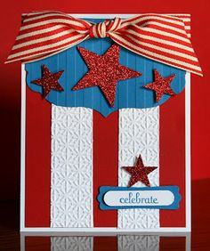 Stampin' Up! Card  by Krystal's Cards and More: 2012 4th of July / Stripes EMbossing Folder, Snowburst Embossing Folder, Star Punches, Modern Label Punch, Word Window Punch, Labels Framelits, Striped Grosgrain ribbon