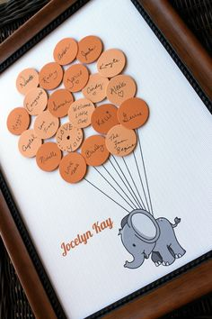 Baby Shower Guest Book - Elephant with Balloons by SayAnythingDesign on Etsy https://www.etsy.com/listing/153507829/baby-shower-guest-book-elephant-with