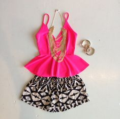 Pink peplum tank with patterned shorts and gold jewelry