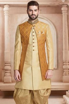 y Mustard Yellow Zari Embroidered Brocade Indo Western Sherwani Online Mens Indian Wear, Mens Ethnic Wear, Indian Groom Wear, Indian Men Fashion, Mens Fashion Wear, Mens Sherwani, Sherwani Groom, Wedding Sherwani, Indian Wedding Clothes For Men