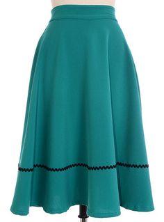 High Waisted Teal Twirl Skirt