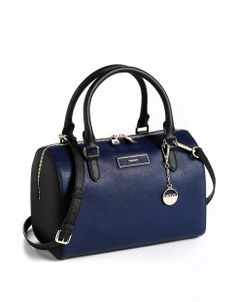 Dkny Saffiano Leather Satchel Bag NAVY BLACK Glamour Shop, Satchel Bag,  Leather Satchel 482497cfb2