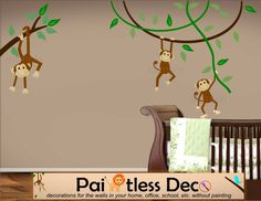 Reuseable Swinging Monkeys Jungle Safari Party Wall Decal Sticker (Baby Nursery)  --HD. $127.00, via Etsy.