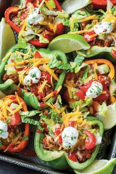 Baked Bell Pepper Tacos: Plus 16 Other Things You Can (and Should) Stuff in a Pepper via @PureWow