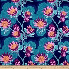 Joel Dewberry Cali Mod Home Decor Sateen Twill Protea Midnight from Screen printed on cotton sateen; this medium weight twill fabric designed by Joel Dewberry has no significant sheen and