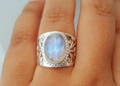 Genuine Moonstone Ring Boho Ring Gypsy Ring by HimalayanTreasure