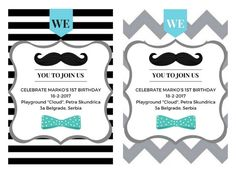 MOUSTACHE Invitation Moustache party Birthday by ItsallDigitaltome