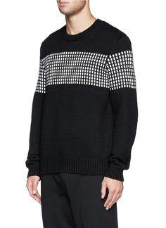 THEORY - 'Oberon' colourblock dot sweater | Black Sweaters Knitwear | Menswear | Lane Crawford - Shop Designer Brands Online