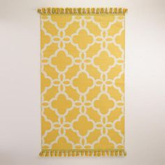 One of my favorite discoveries at WorldMarket.com: Yellow Lattice Indoor-Outdoor Rugs with Tassels