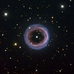 The hazy and aptly named Fine Ring Nebula, shown here, is an unusual planetary nebula. Planetary nebulae form when some dying stars, having expanded into a red giant phase, expel a shell of gas as they evolve into white dwarfs. Most planetary nebulae are either spherical or elliptical in shape, or bipolar (featuring two symmetric lobes of material).