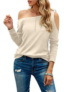 Stretchy and Soft Material: Women fall tops is made of 60% Cotton + 35% Polyester + 5% Spandex, lightweight, soft, stretchy, comfy and gentle against your skin. Novelty Design: Women tunic tops with the cold shoulder detail gives the entire top an elevated look, make it look more elegant. Off one shoulder design gives the top a more sexier look. Cut out shoulder brings more cuter and stylish look! Boat neck matching well with long sleeve design, easy to dress up or dress down. One Shoulder Shirt, Off One Shoulder Tops, Off Shoulder Blouse, Cold Shoulder, Trendy Clothes For Women, Casual Tops, Tunic Tops, Fashion Outfits, Boat Neck