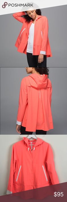 MAKE OFFERS❤️ Lululemon Sun Showers Jacket Lululemon size 6 Sun Showers jacket in grapefruit/white. Retailed $138. Excellent condition. Bust when zipped is 20 across and length is 27. Open to offers and 30% off bundles! lululemon athletica Jackets & Coats