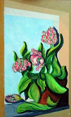 tulips à la fenetre  70x50 cm