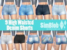 The Sims Resource: High Waisted Denim Shorts by SimBlob • Sims 4 Downloads