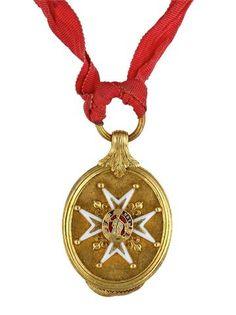 Ordre de Saint-Louis, médaillon ovale en or ciselé ceint de filets