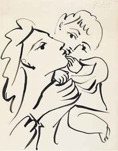 Picasso drawing, Mother and child, brush and India ink on paper, 1951 ca Henri Matisse, Picasso Sketches, India Ink, Art Moderne, Mother And Child, Art Inspo, Georges Braque, Painting & Drawing, Charcoal Drawings