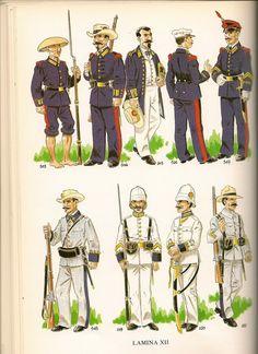 103.-SOLDADO  COMPAÑIASINDIGENAS DE MARINA FILIPINAS1865.º104 .- SOLDADO INFANTERIA MARINA ENFILIPINAS. UNIFORME GALA.1863.º 105.- TENIENTE CORONEL INFANTERIA MARINA UNIFORME DIARIO  ULTRAMAR. 1863.Nº 106 y 107 INFANTERIA MARINA DE  APOSTADEROS dCUBA YFILIPINAS.1878.º108.-VOLUNTARIO COMPAÑIAS DMARINA. CUBA. 1868-1898.º  109.-CABo 2º INFANTERIA  MARINA FILIPINAS GALA EN FORMACIÓN.1897º 110 .-OFICIAL  INFANTERIA MARINA FILIPINAS UNIFORME GALA.1897.º 111.-CABO 1º UNIFORME  DIARIO EN…