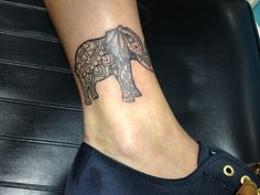 Paisley elephant on ankle by Wes Fortier - Burning Hearts Tattoo Co. 1430 Meriden Rd. Waterbury, CT