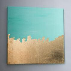 DIY aqua gold leaf art by Glitter and Goat Cheese
