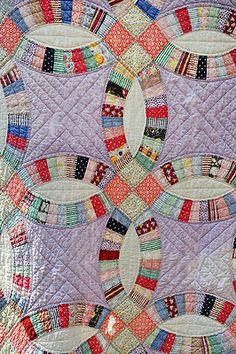 Beautiful Double Wedding Ring Hand Stitched Quilt | eBay, hardtimestradingpost