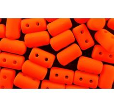 Czech Glass Two-Hole Seed Beads RULLA 3x5 mm NEON Matte Orange