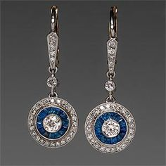 1920's Art Deco Sapphire  Diamond Earrings