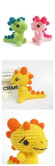 Crochet Toy Patterns Crochet Amigurumi Rattle Baby Dragon Dinosaur Free Pattern - Dinosaurs are so much fun! With these Crochet Amigurumi Dinosaur Free Patterns, you can create custom dinosaurs for all the dino fans in your life. Crochet Dinosaur Patterns, Crochet Amigurumi Free Patterns, Crochet Dolls, Crochet Yarn, Knitting Patterns, Crotchet, Cute Crochet, Crochet Crafts, Crochet Projects