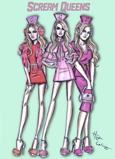 Hayden Williams Fashion Illustrations | The Chanels are back!! Scream Queens season 2 by...