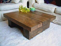 solid dark oak square coffee table