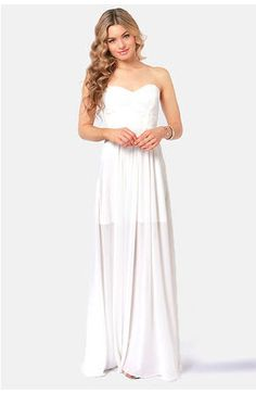 Today I am very pleased to showcase my yet another post of strapless white maxi dress! Today I am bringing another exciting post of strapless white maxi dress Beautiful White Dresses, White Maxi Dresses, Trendy Dresses, Cute Dresses, Casual Dresses, Fashion Dresses, Prom Dresses, Wedding Dresses, Rehearsal Dinner Dresses