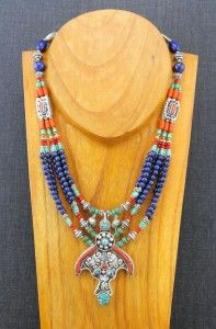 Lapis Turquoise Tibetan Beaded Necklace - Dharmashop.com