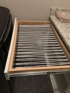 Built in Hidden Drying Rack is part of Clothes Rack Drying - Wanted a way to hang damp clothes for drying without having them out in plain view Removed the bottom from laundry room drawer Screwed eyelet screws into draw… Laundry Room Remodel, Laundry Closet, Laundry Room Organization, Small Laundry, Laundry Room Design, Laundry Rooms, Laundry Storage, Hidden Laundry, Laundry Decor