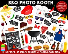 PRINTABLE BBQ Photo Booth Props-BBQ Party Props-Bbq Photo Props-Grill Party Props-Grill Photo Booth Props-Barbecue Props-Instant Download