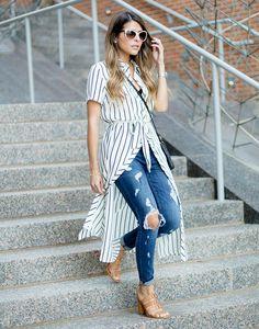 camisa-vestido-fenda-frontal listra longa como usar calca jeans