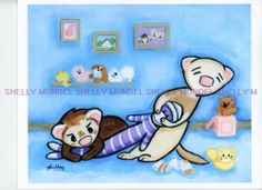 Art by Shelly Mundel. Ferret People Collection  ( Stretch Monkey) 8x10 inch #OutsiderArt 8x10