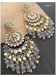 Indian Bridal Jewelry Sets, Indian Jewelry Earrings, Jewelry Design Earrings, Ear Jewelry, Pearl Earrings, Fancy Earrings, Amber Earrings, Bridal Jewellery, Antique Jewellery Designs