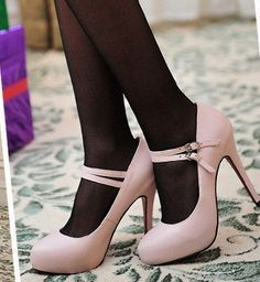 Morpheus Boutique  - Pink Leather Strap Platfrom Pump Heels Mary Jane Shoes