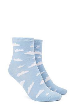 Cloud Print Crew Socks $3