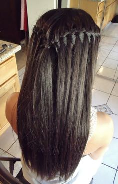 This hairstyle is parted down the middle at the front section but the part does not continue into the crown. There are two water fall braids braided around the back of the head and tied off in a clear elastic. The length of the hair is straightened with a flat iron.