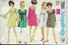 """Vintage 1968 Simplicity 7895 Mod Dress With Three Sleeves Sewing Pattern Size 12 Bust 34"""" by Recycledelic1 on Etsy"""