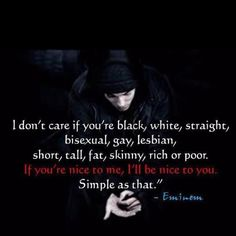 No discrimination here...I dislike most hip hop but love Eminem..this is one of the many reasons I am a fan