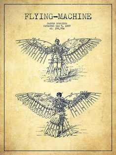 Flying machine diagram (via Flying Machine Patent Drawing-vintage by Aged Pixel)