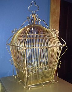 Vintage Mid Century Bird Cage Ornate Scroll Spanish Made In Spain Glass Feeders