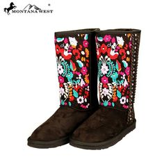 Montana West Embroidered Floral Boots Coffee Cowgirl Western Winter Size 6 #MontanaWest #CowboyWestern