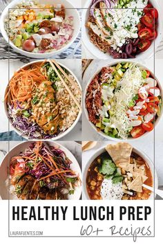 60  healthy meal prep lunch and dinner ideas you can cook once and enjoy throughout the week! Lunch To Go, Lunch Meal Prep, Healthy Meal Prep, Lunch Recipes, Whole Food Recipes, Dinner Recipes, Healthy Recipes, Prepped Lunches, Lunches And Dinners