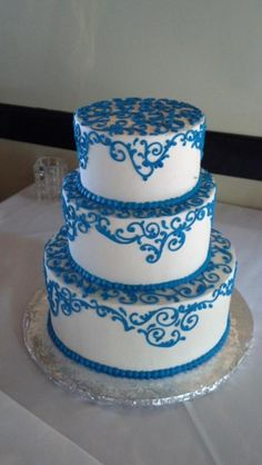 I love this cake and I love the shade of blue. It seems whimsical and fun and this will match our venue, the Soho South Cafe Wedding Season, Shades Of Blue, Soho, Savannah Chat, Wedding Stuff, Whimsical, Pride, Cake, Desserts