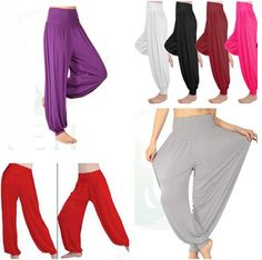 b5932af23530 Pick Sizes Lady Harem Yoga Pants Belly Dance Comfy Loose Boho Wide Club  Trousers