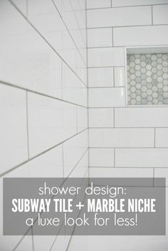 Shower Design: Subway Tile and Marble Tile Niche Looking for inspiring shower ideas? Check out this shower tile design using white subway tile and marble tile niche. White Subway Tile Shower, Subway Tile Showers, White Shower, Marble Tile Shower, Shower Grout, Shower Walls, Bath Shower, Bad Inspiration, Bathroom Inspiration
