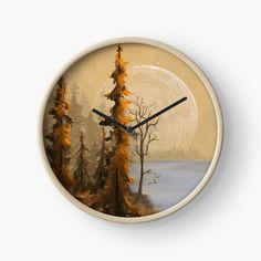 Modern Prints, Art Prints, T Art, Quartz Clock Mechanism, Jenni, Hand Coloring, Full Moon, Top Artists, Landscape